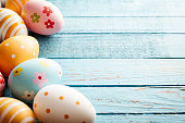 Easter Eggs on Old Blue Wood - Season Background Frame