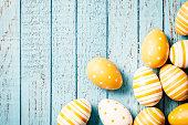 Easter Eggs on Old Blue Wood - Season Background
