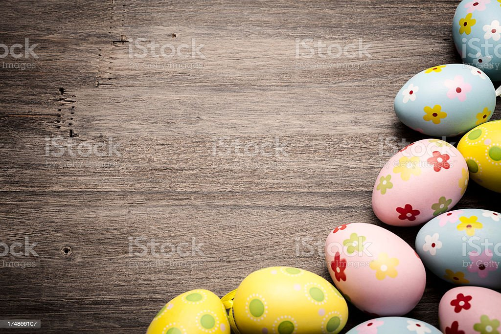 Easter Eggs on Old Wood stock photo