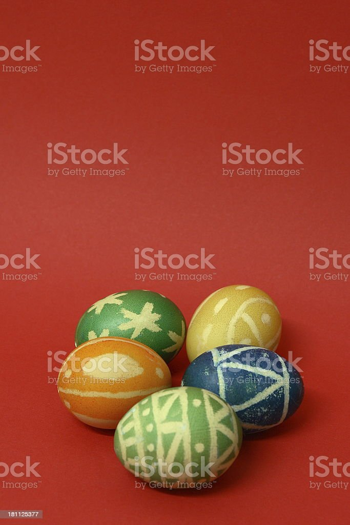 Easter Eggs on red royalty-free stock photo
