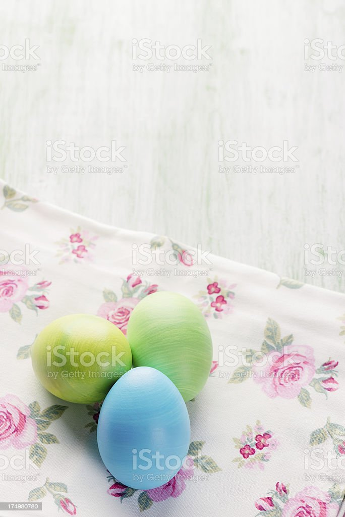 Easter eggs on table stock photo