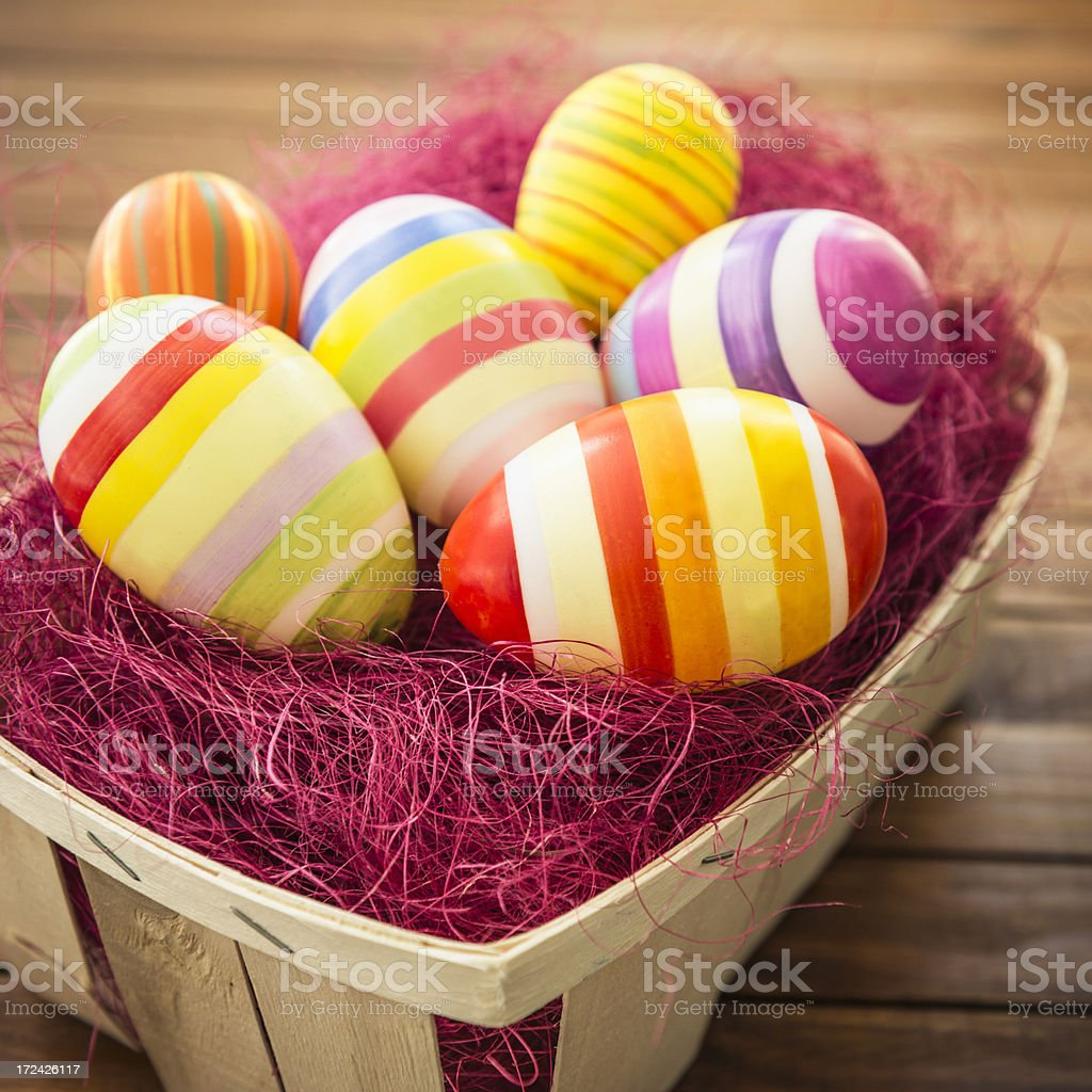 Easter eggs on the basket royalty-free stock photo
