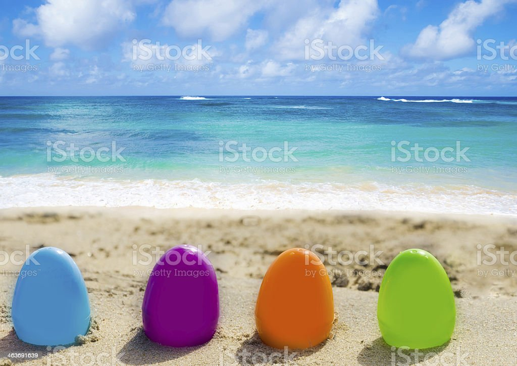 Easter eggs on the beach royalty-free stock photo