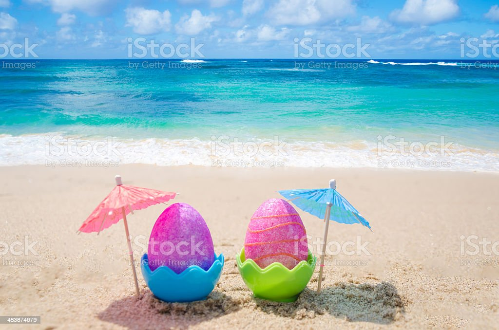 Easter eggs on the beach stock photo