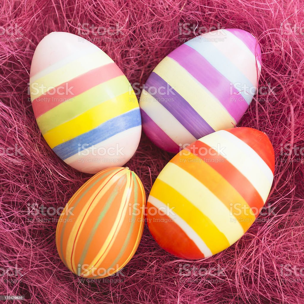 Easter eggs on the straw royalty-free stock photo