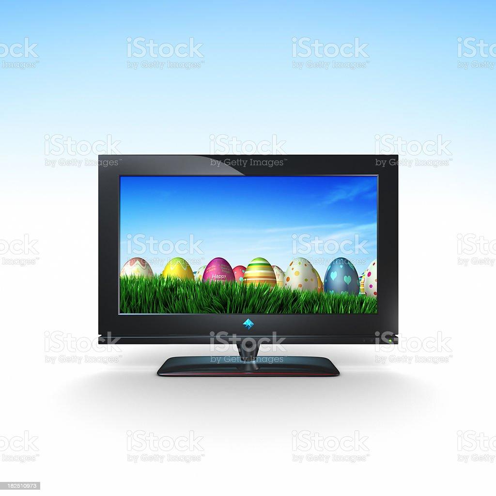 Easter Eggs on TV (XXXL) royalty-free stock photo