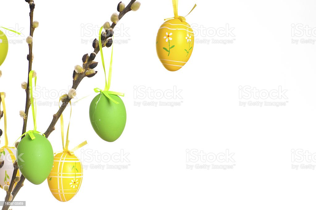 Easter eggs on twig royalty-free stock photo