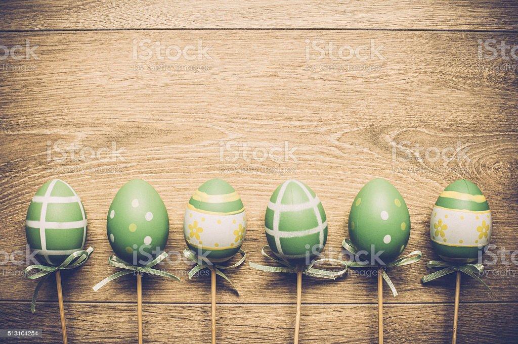 Easter Eggs on Wooden Floor stock photo