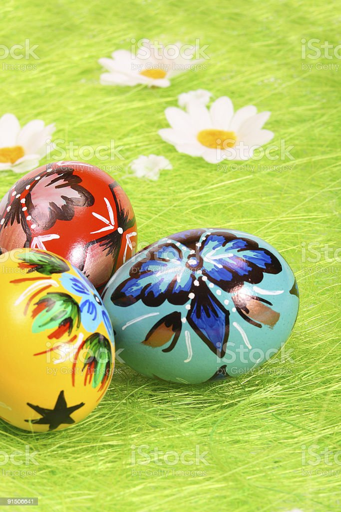 Easter eggs over green grass royalty-free stock photo
