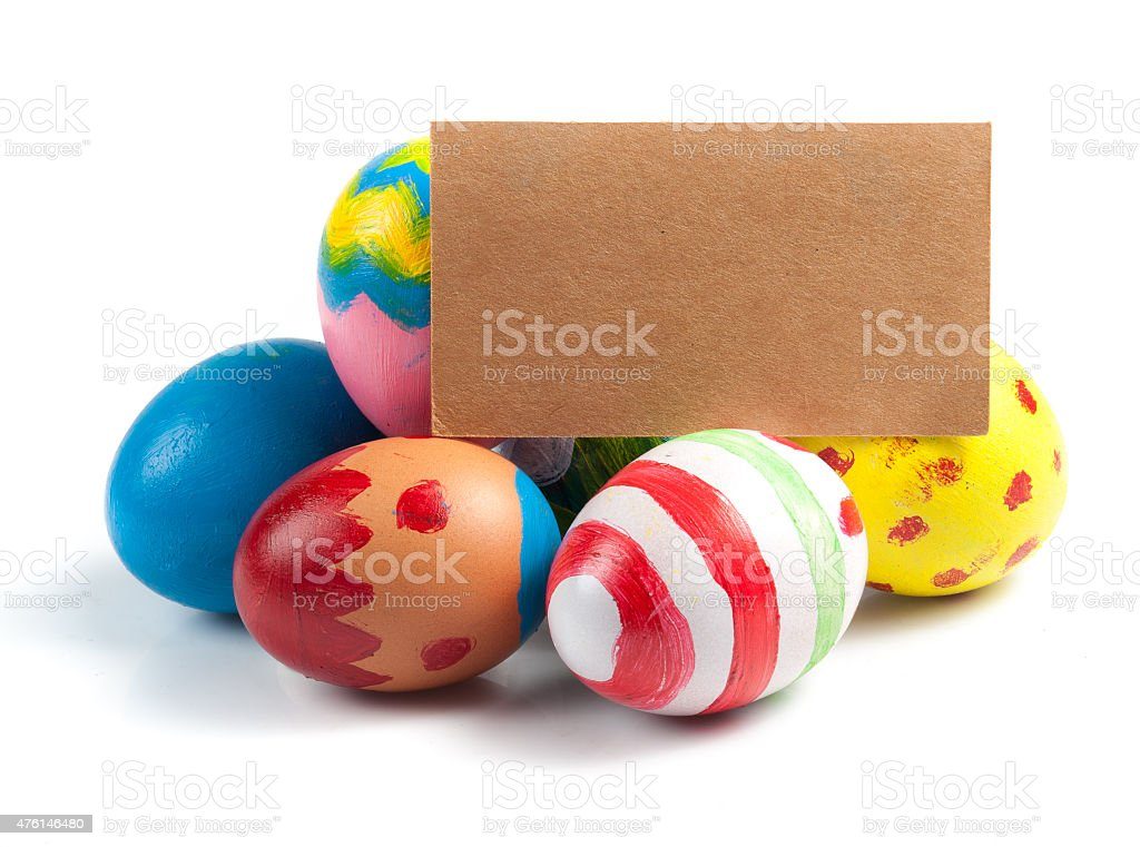 Easter eggs painted on a white background, stock photo