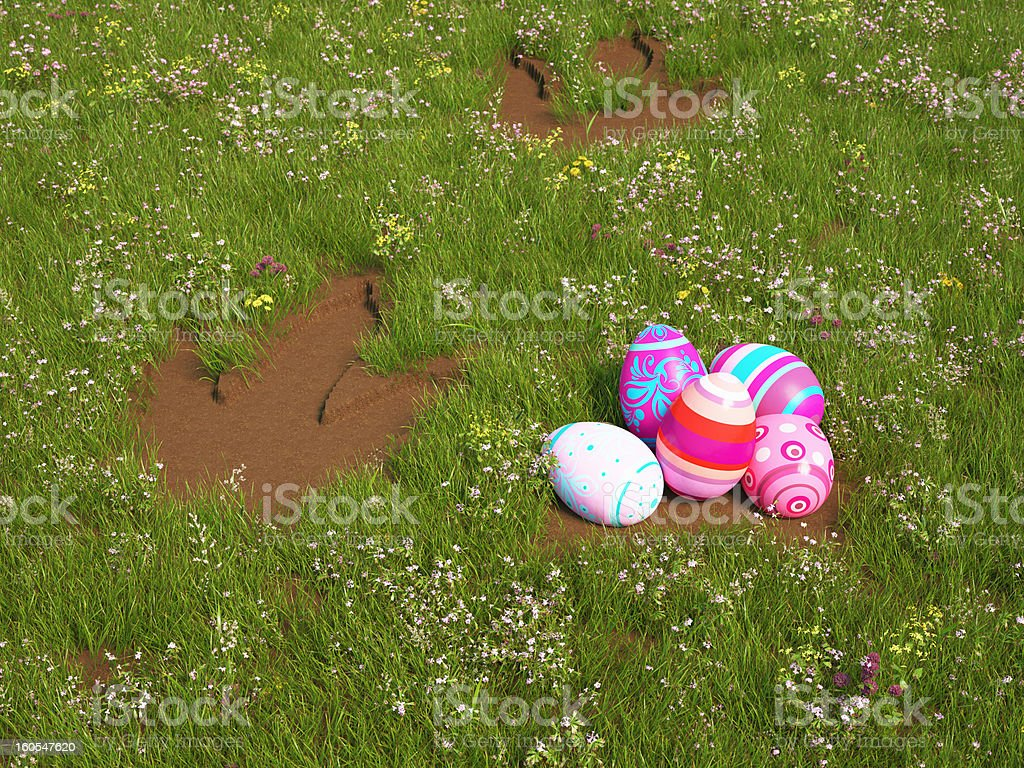 Easter eggs with Dino foodsteps royalty-free stock photo