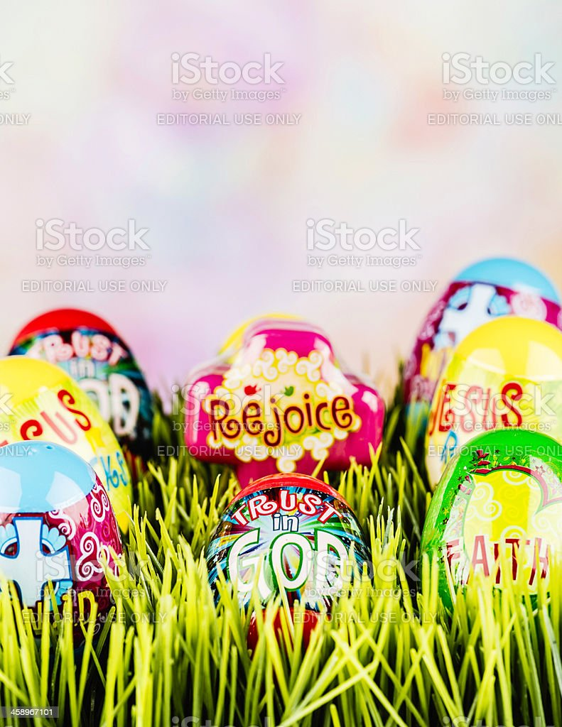 Easter Eggs with Inspirational Messages stock photo