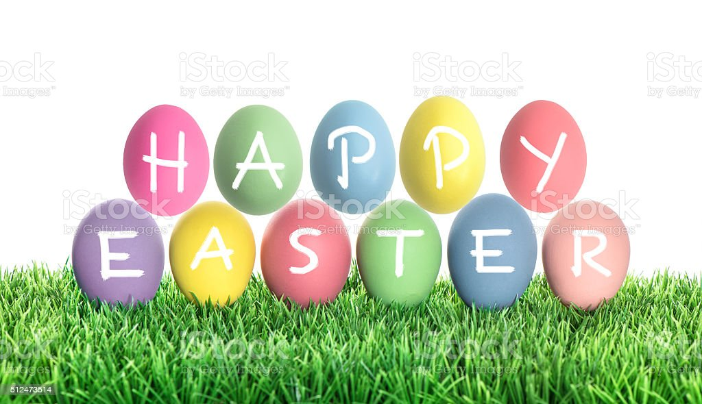 Easter eggs with letter HAPPY EASTER. Colorful decoration stock photo