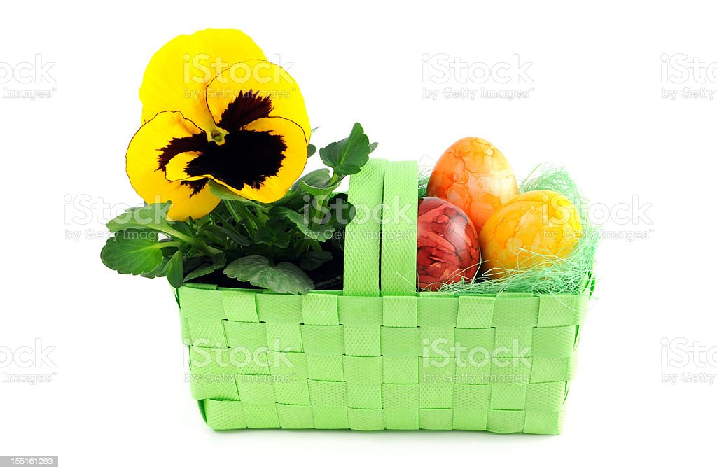 easter eggs with pinkt flower yellow pansy in green basket stock photo