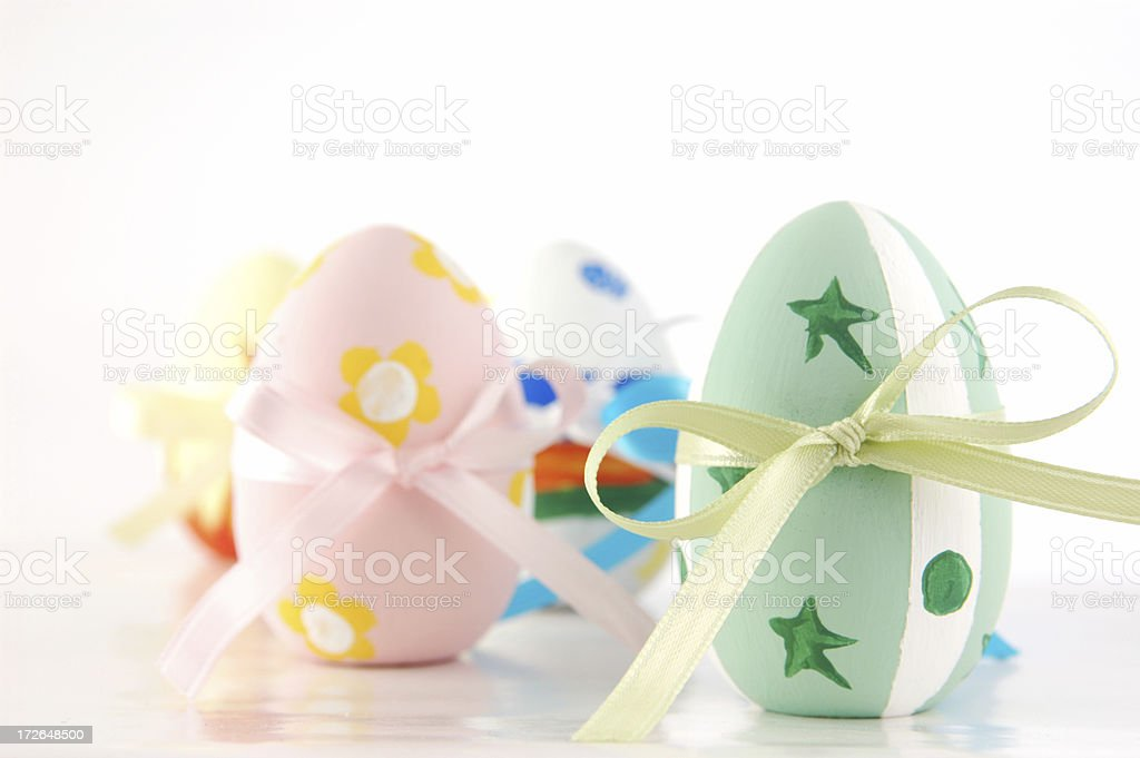 Easter eggs with ribbons stock photo