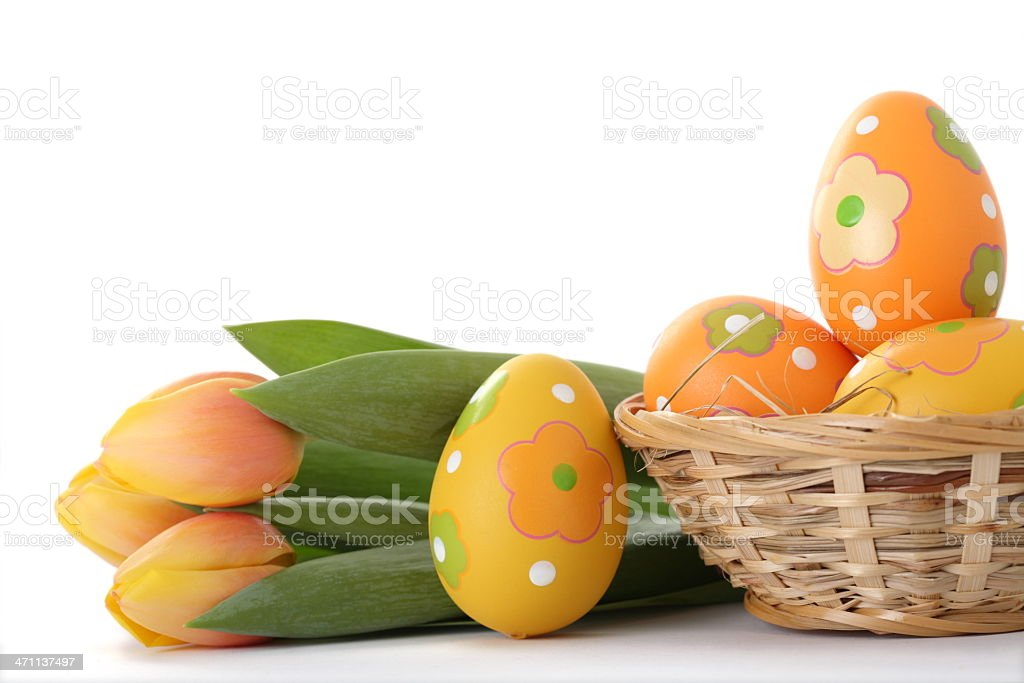 Easter Eggs with Tulips royalty-free stock photo