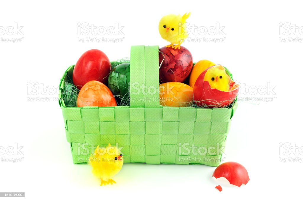 easter eggs with young chicken in a green basket stock photo