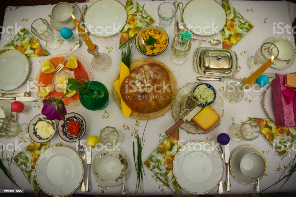 Easter Elegant Dining Table stock photo