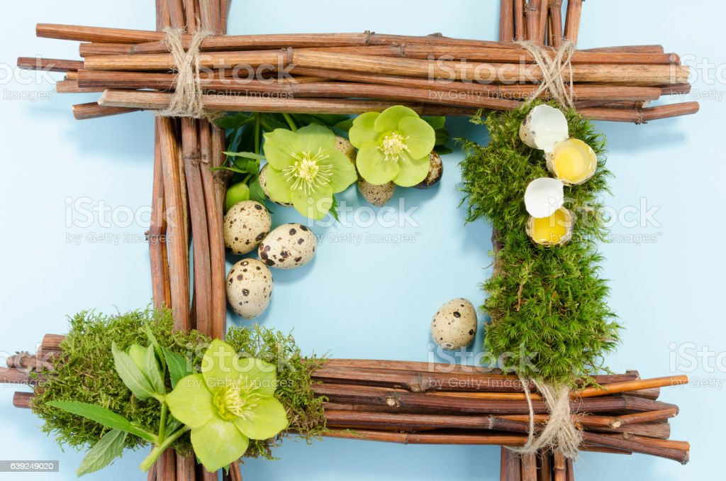 Easter frame with one boiled quail egg in the right stock photo