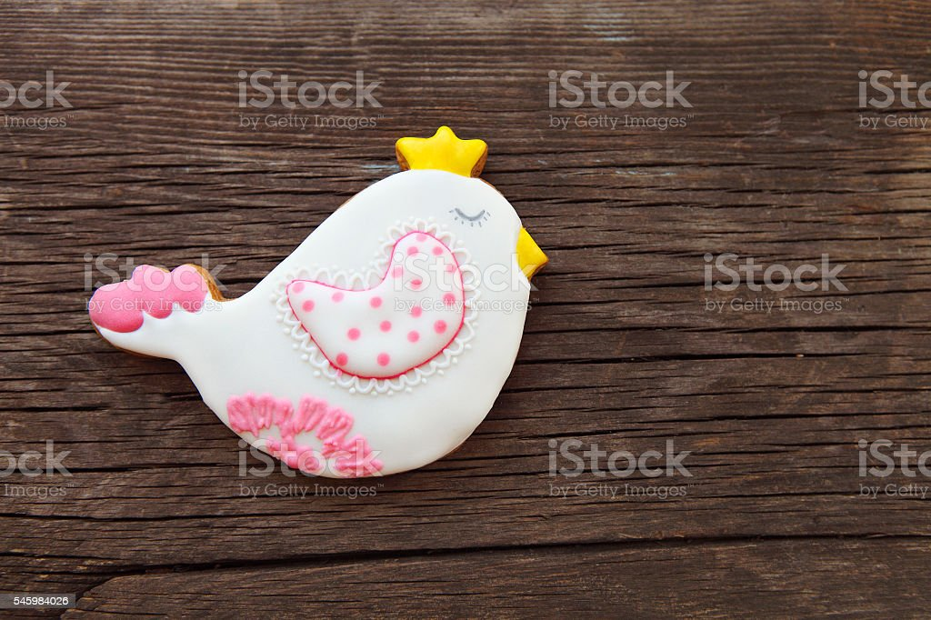 Easter ginger cookies shaped as birds stock photo