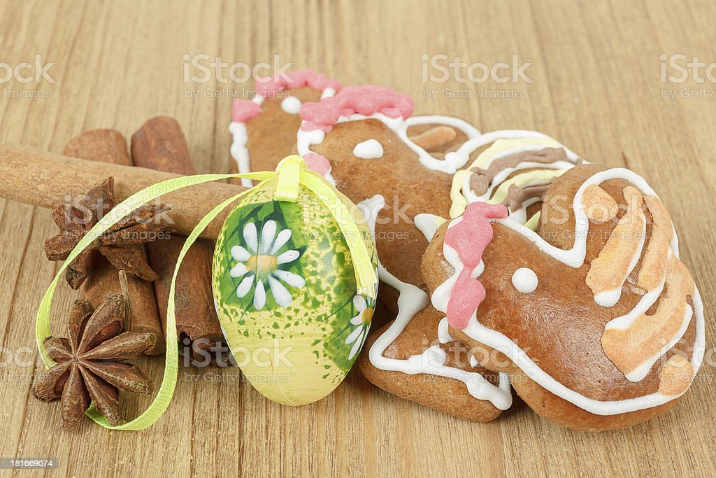 Easter gingerbreads and painted egg royalty-free stock photo