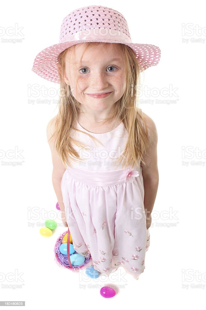 easter girl in dress with basket royalty-free stock photo