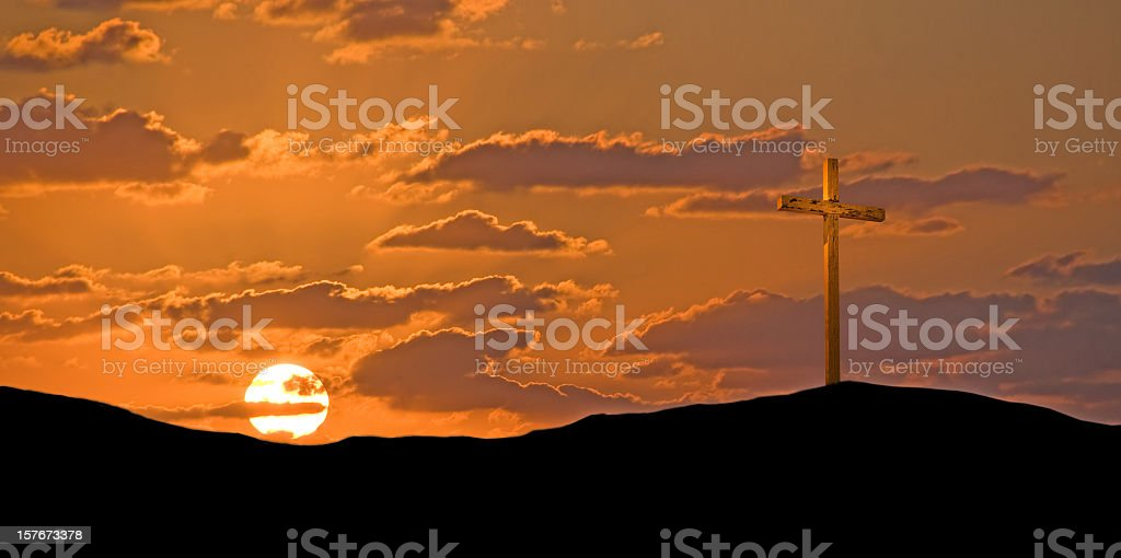 Easter Golden Cross royalty-free stock photo
