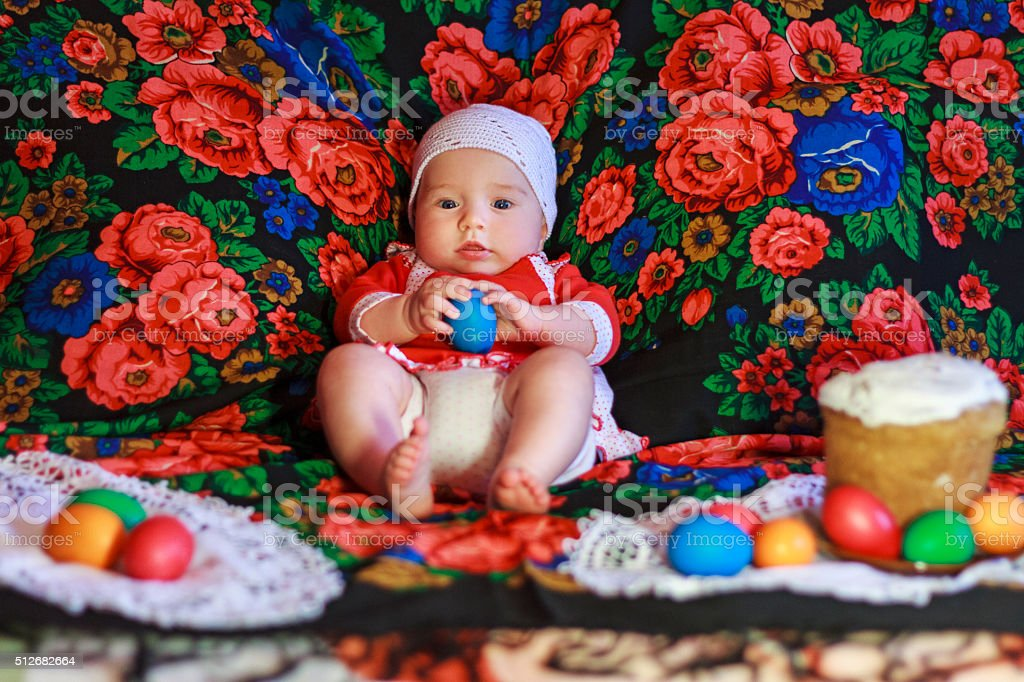 Easter holiday and baby stock photo