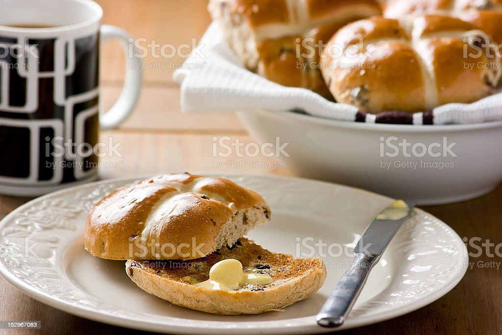 Easter Hot Cross Buns. royalty-free stock photo
