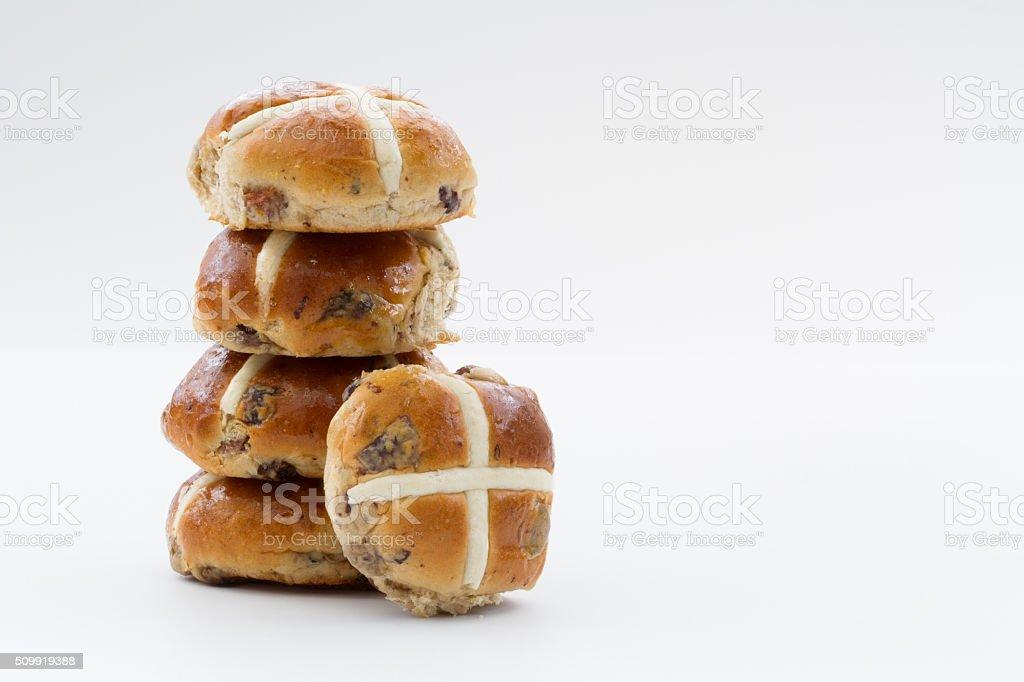 Easter Hot Cross Buns stock photo
