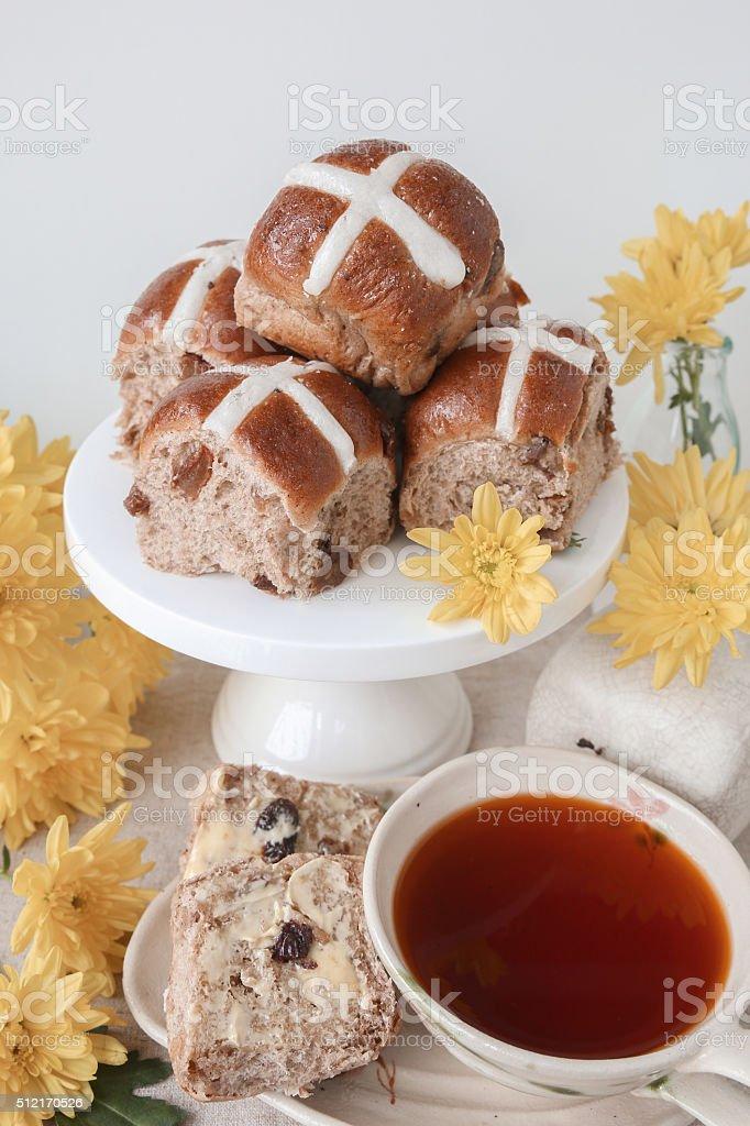 Easter Hot cross buns, selective focus stock photo