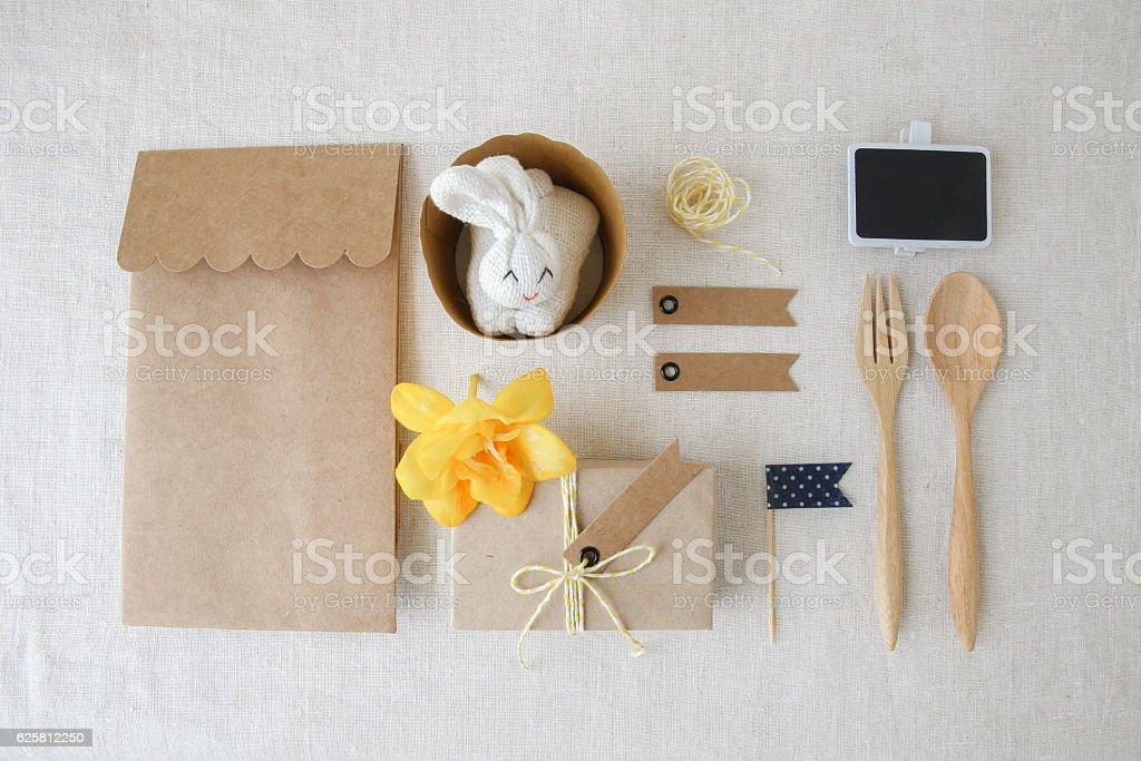 Easter identity branding mockup set, eco concept stock photo