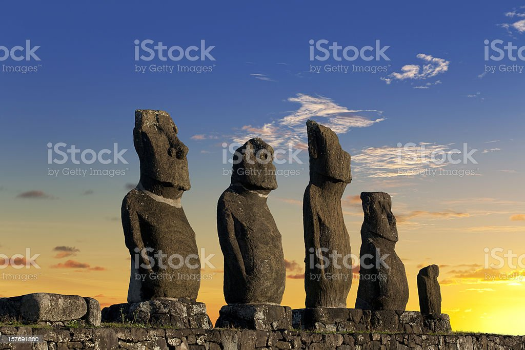 Easter Island Chile dawn over Moais at Ahu Tahai stock photo