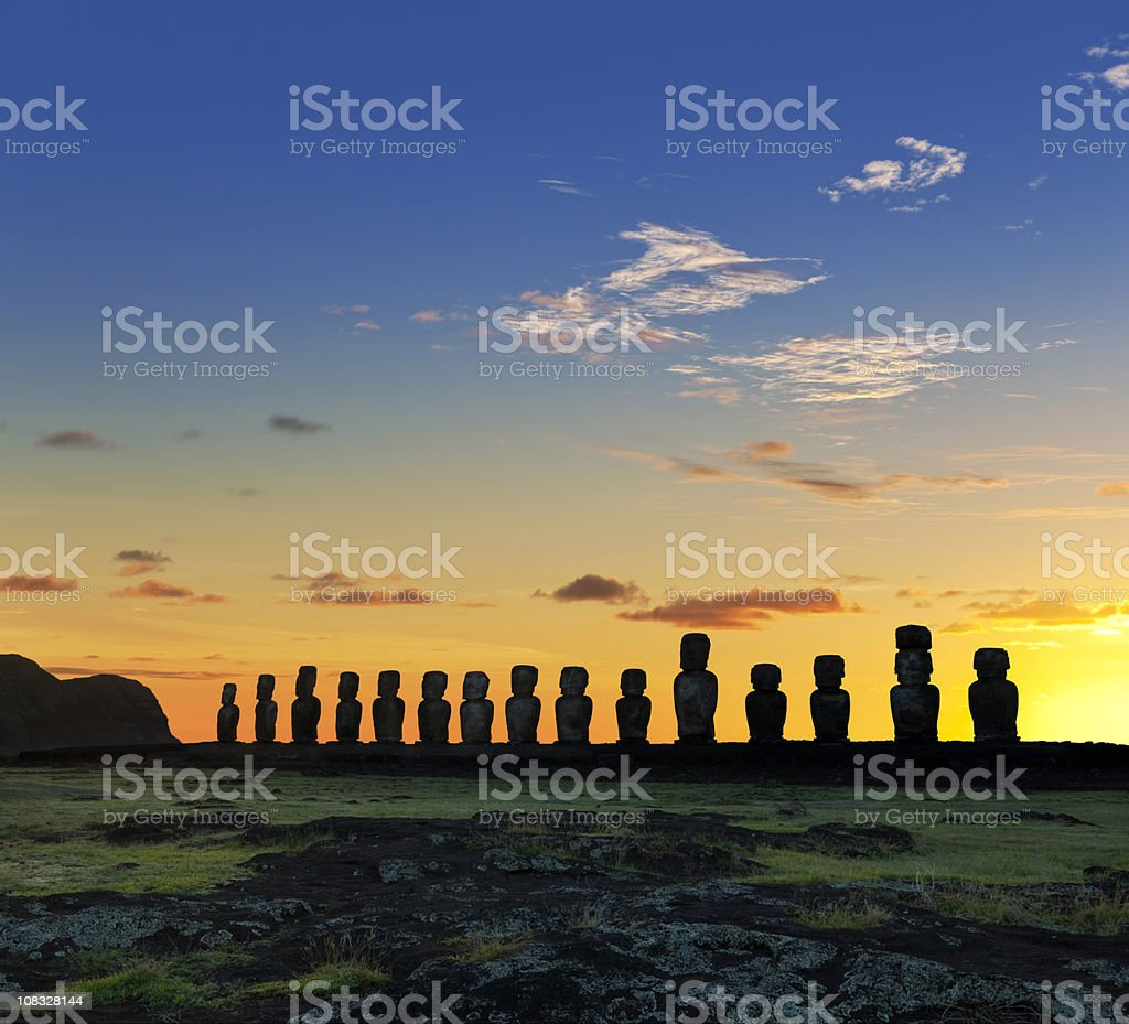 Easter Island Chile dawn over moais at Ahu Tongariki stock photo