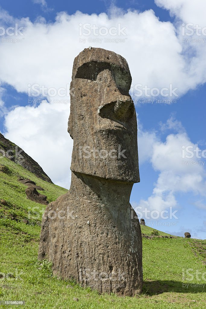 Easter Island Chile Moai Piro-Piro at Rano Raraku stock photo
