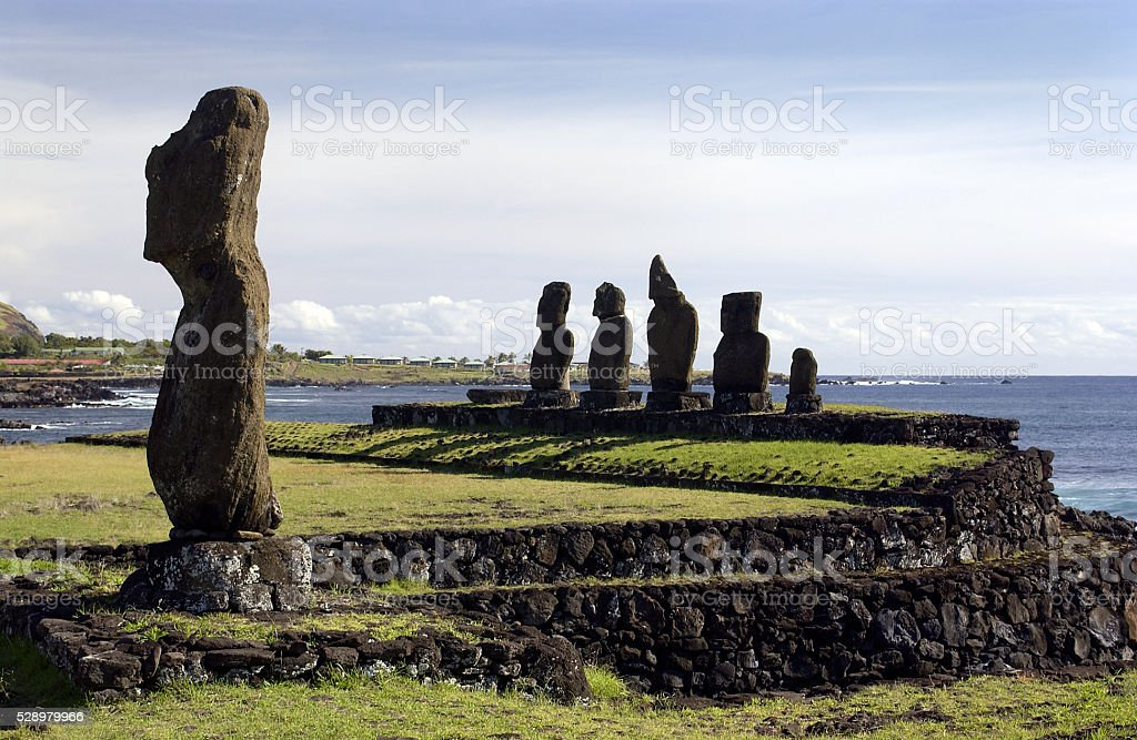 Easter Island in the South Pacific stock photo