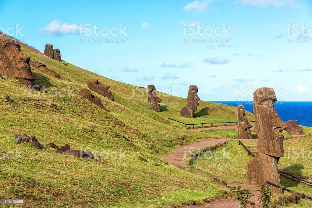 Easter Island Moai at Rano Raraku stock photo
