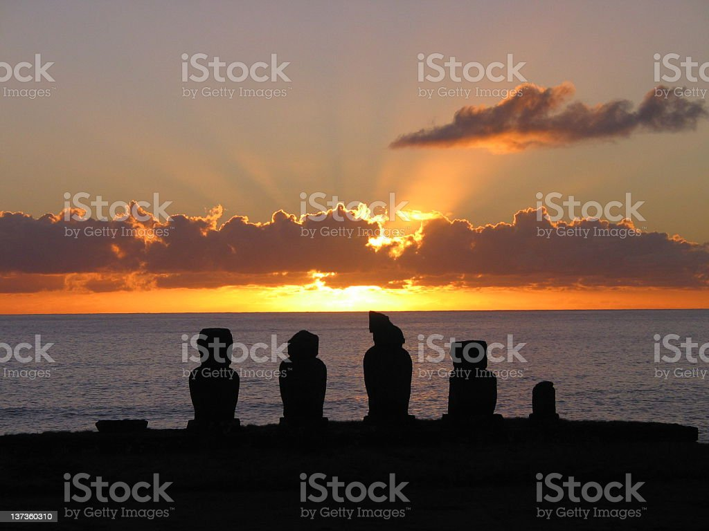Easter Island Moai at Sunset royalty-free stock photo