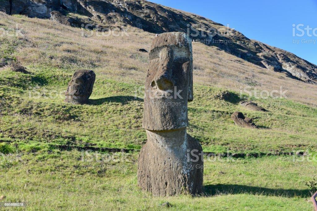 Easter Island Moai, near Rano Raraku stock photo