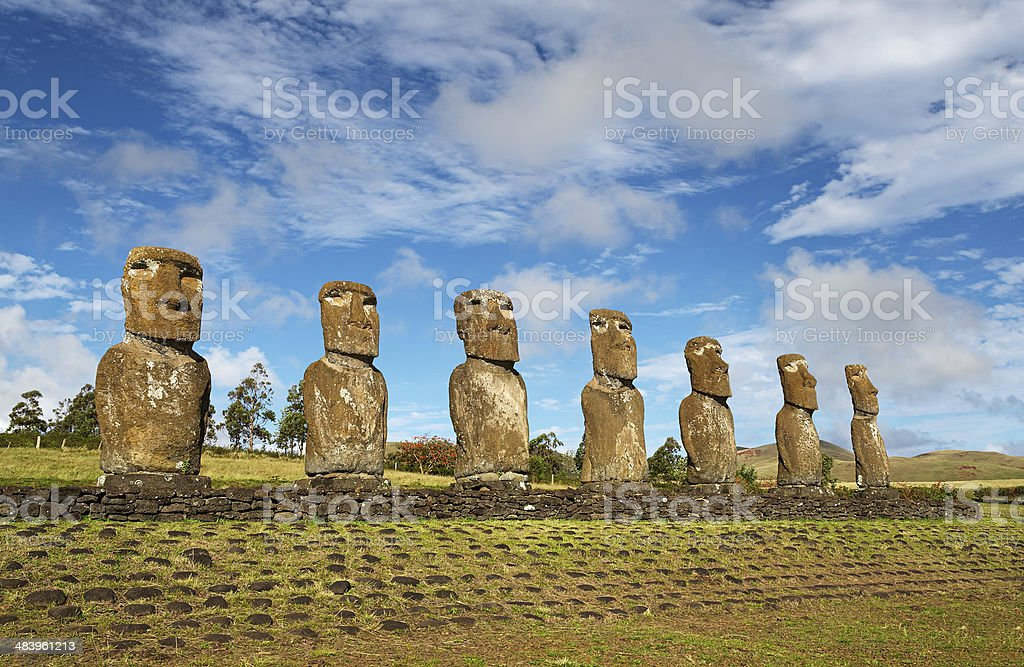 Easter island, moai of Ahu Akivi stock photo