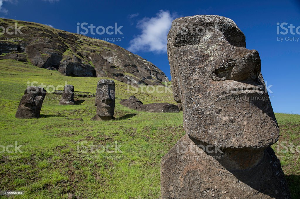 Easter Island Moai statue stock photo