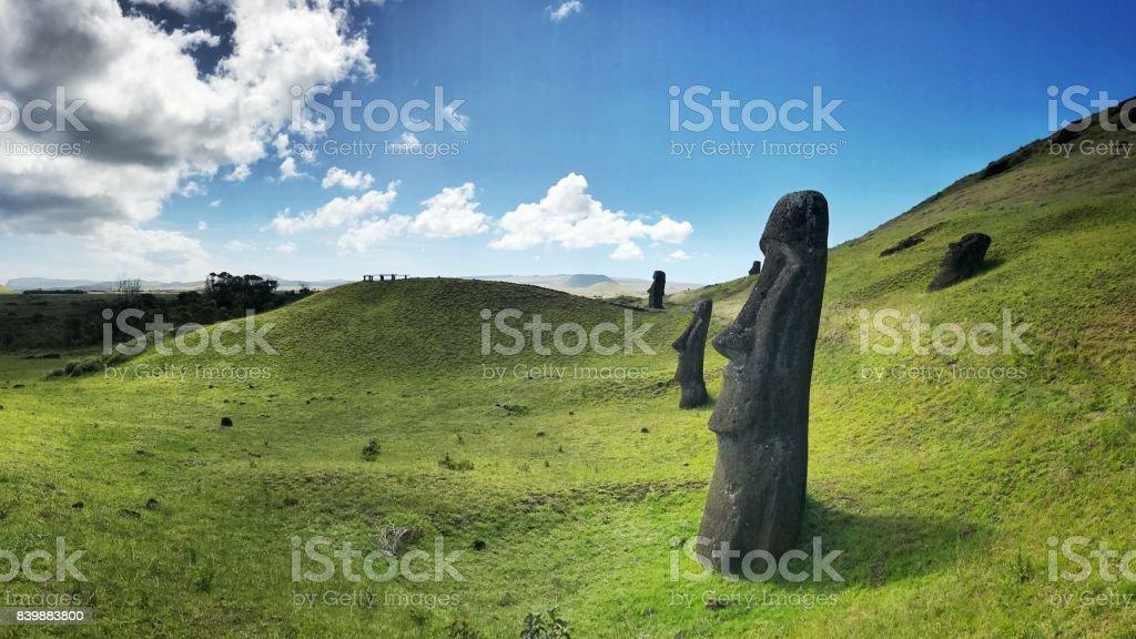 Easter Island Rano Raraku Moai Rapa Nui stock photo