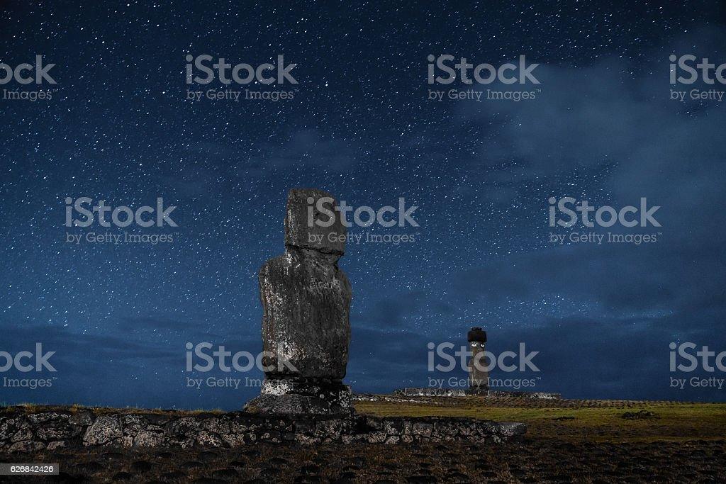 Easter Island Rapa Nui Tahai Moai under Stars at Night stock photo