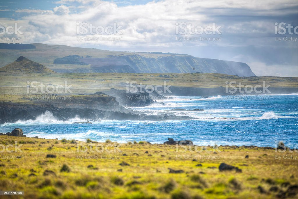Easter Island rocky coast. stock photo