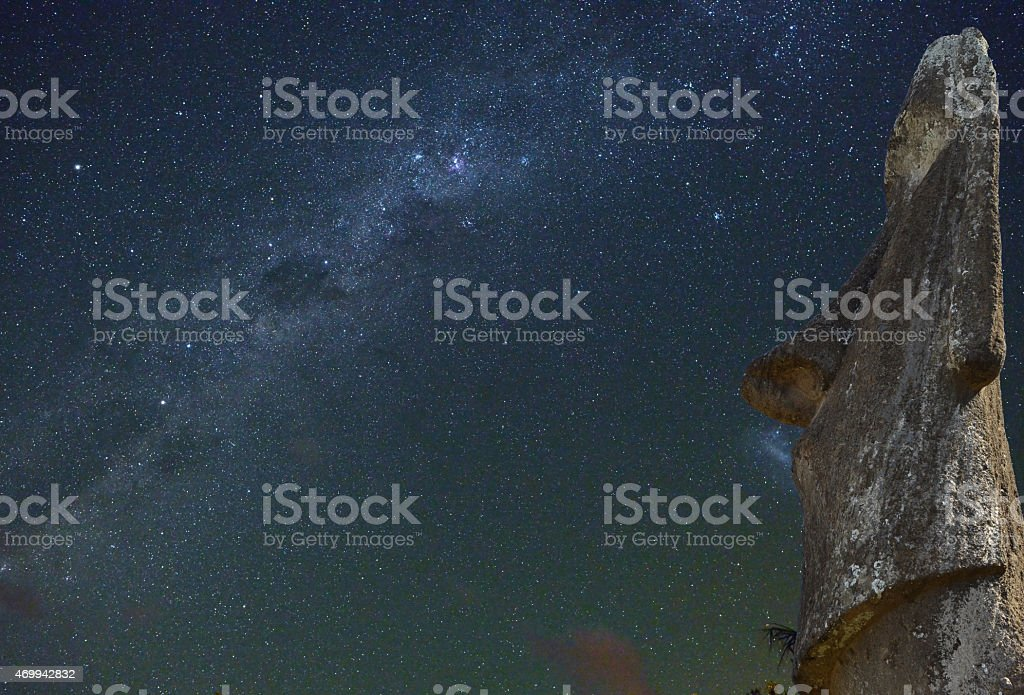 Easter Island statue at night, Chile stock photo