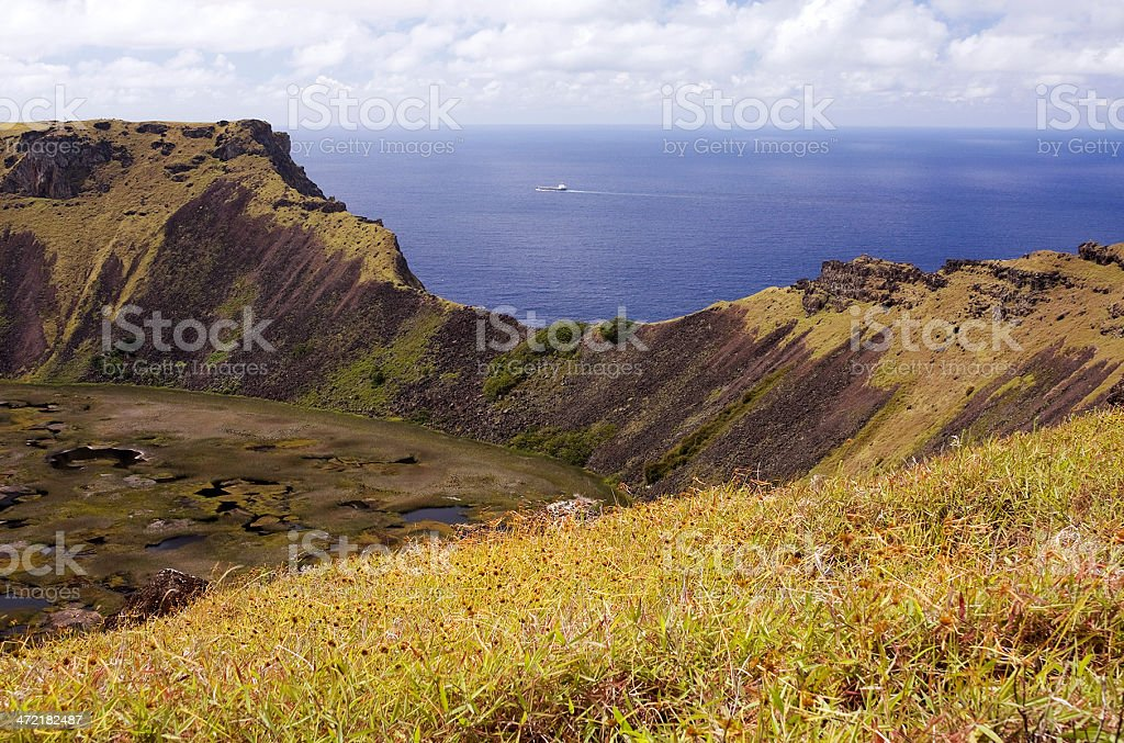 Easter Island. View from Rano Kau royalty-free stock photo