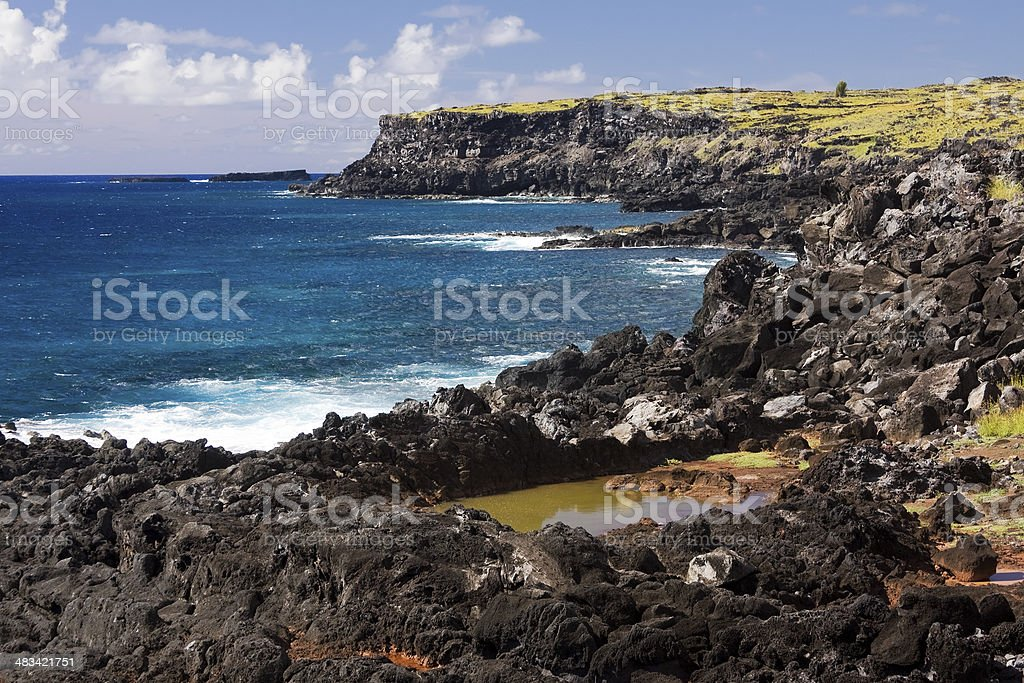 Easter Island view. Pacific Ocean stock photo