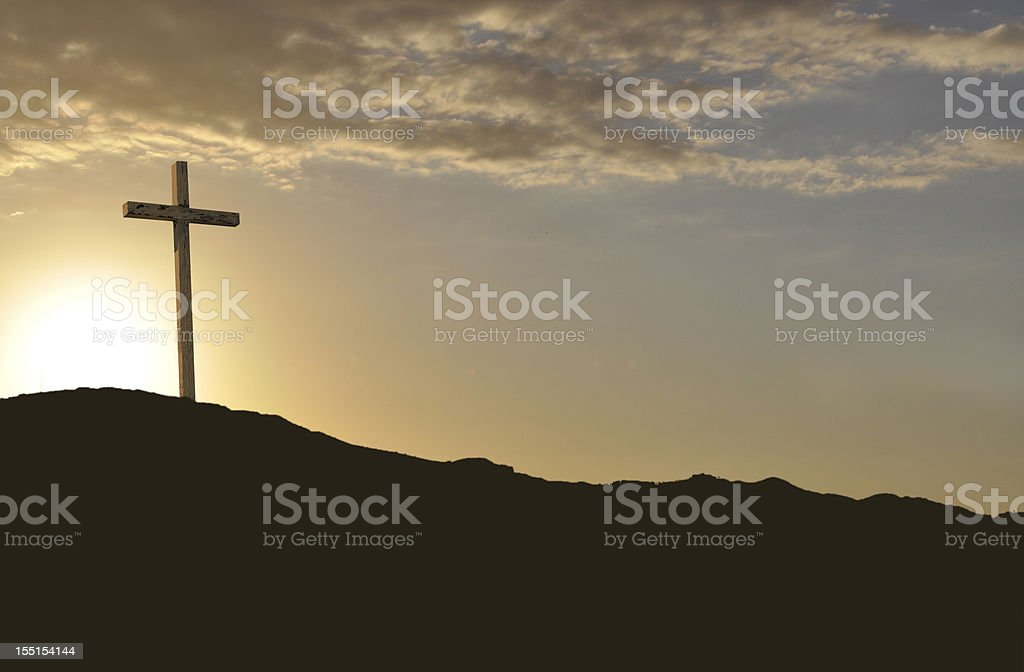 Easter Morning Gold Rugged Cross stock photo