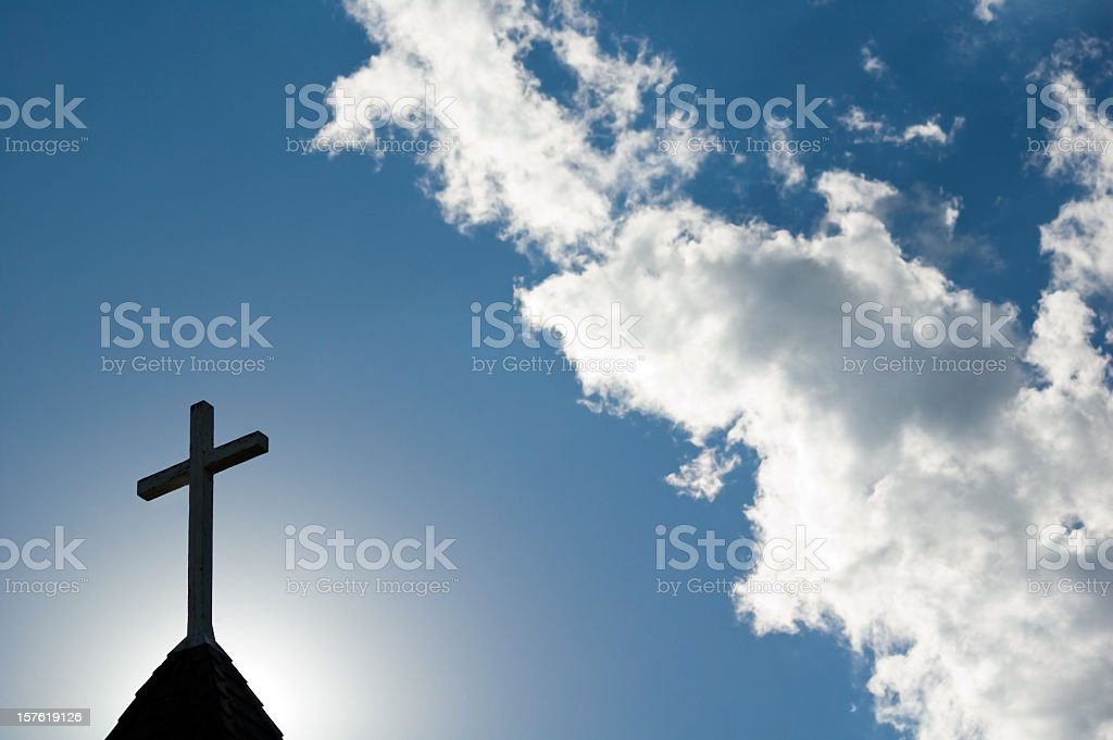 Easter Morning Service at Daybreak with cross and steeple stock photo