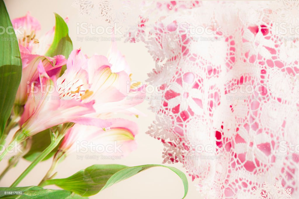 Easter, Mother's Day. Flower bouquet on lace background. stock photo